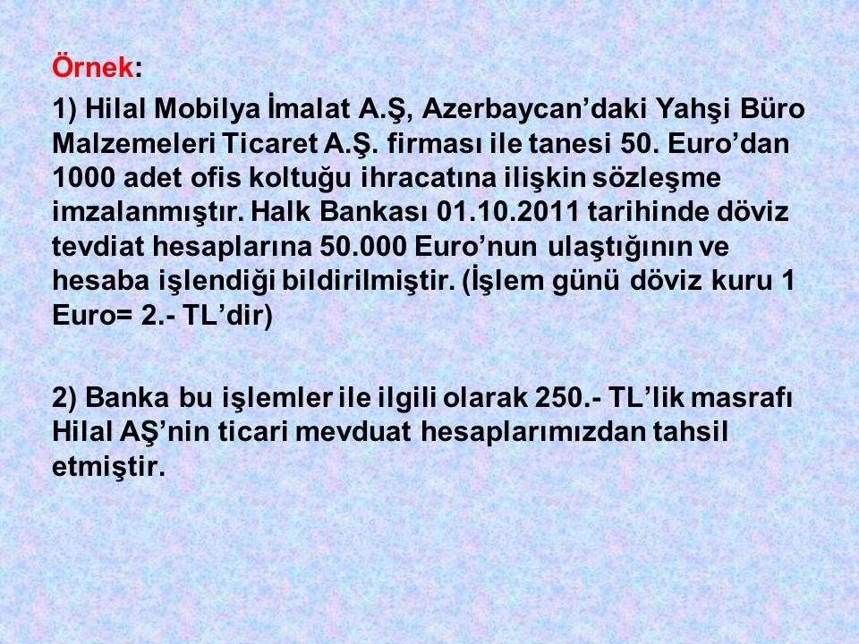 Örnek: 1) Hilal Mobilya İmalat A.Ş, Azerbaycan'daki Yahşi Büro Malzemeleri Ticaret A.Ş.
