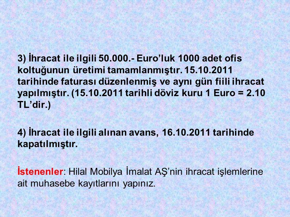 3) İhracat ile ilgili 50.000.- Euro'luk 1000 adet ofis koltuğunun üretimi tamamlanmıştır.