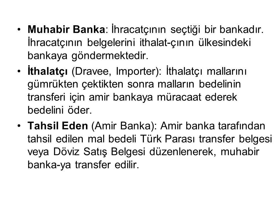 Muhabir Banka: İhracatçının seçtiği bir bankadır.