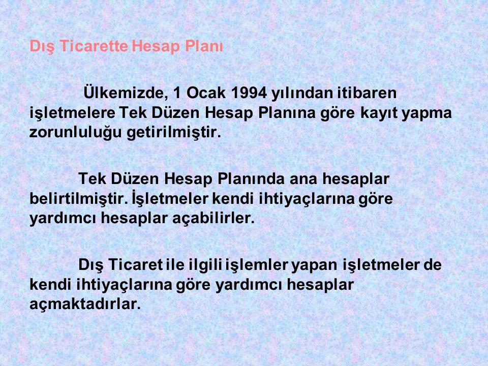 Dış Ticarette Hesap Planı Ülkemizde, 1 Ocak 1994 yılından itibaren işletmelere Tek Düzen Hesap Planına göre kayıt yapma zorunluluğu getirilmiştir.