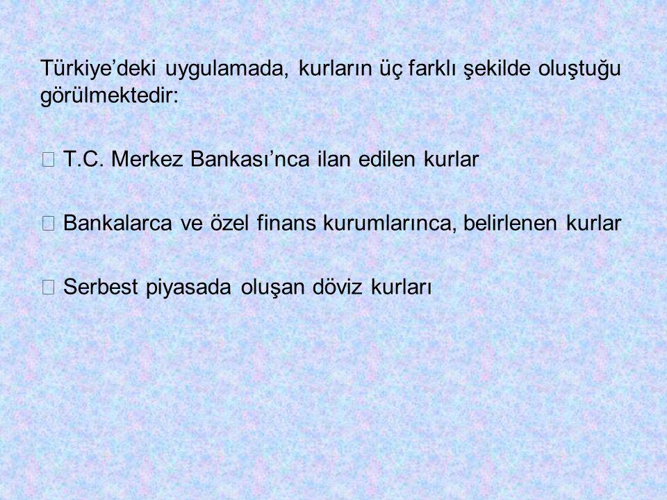 Türkiye'deki uygulamada, kurların üç farklı şekilde oluştuğu görülmektedir:  T.C.