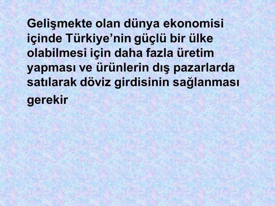 Gelişmekte olan dünya ekonomisi içinde Türkiye'nin güçlü bir ülke olabilmesi için daha fazla üretim yapması ve ürünlerin dış pazarlarda satılarak döviz girdisinin sağlanması gerekir