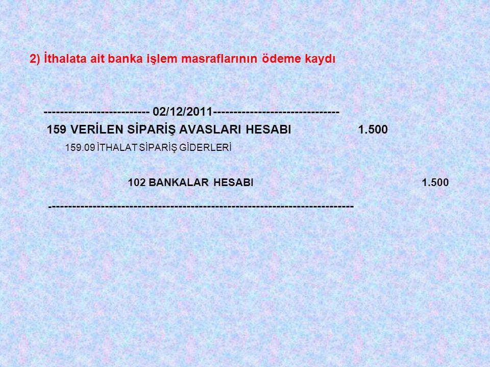 2) İthalata ait banka işlem masraflarının ödeme kaydı -------------------------- 02/12/2011------------------------------- 159 VERİLEN SİPARİŞ AVASLARI HESABI 1.500 159.09 İTHALAT SİPARİŞ GİDERLERİ 102 BANKALAR HESABI1.500 - --------------------------------------------------------------------------