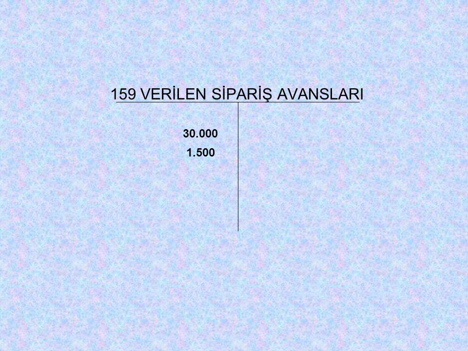 159 VERİLEN SİPARİŞ AVANSLARI 30.000 1.500