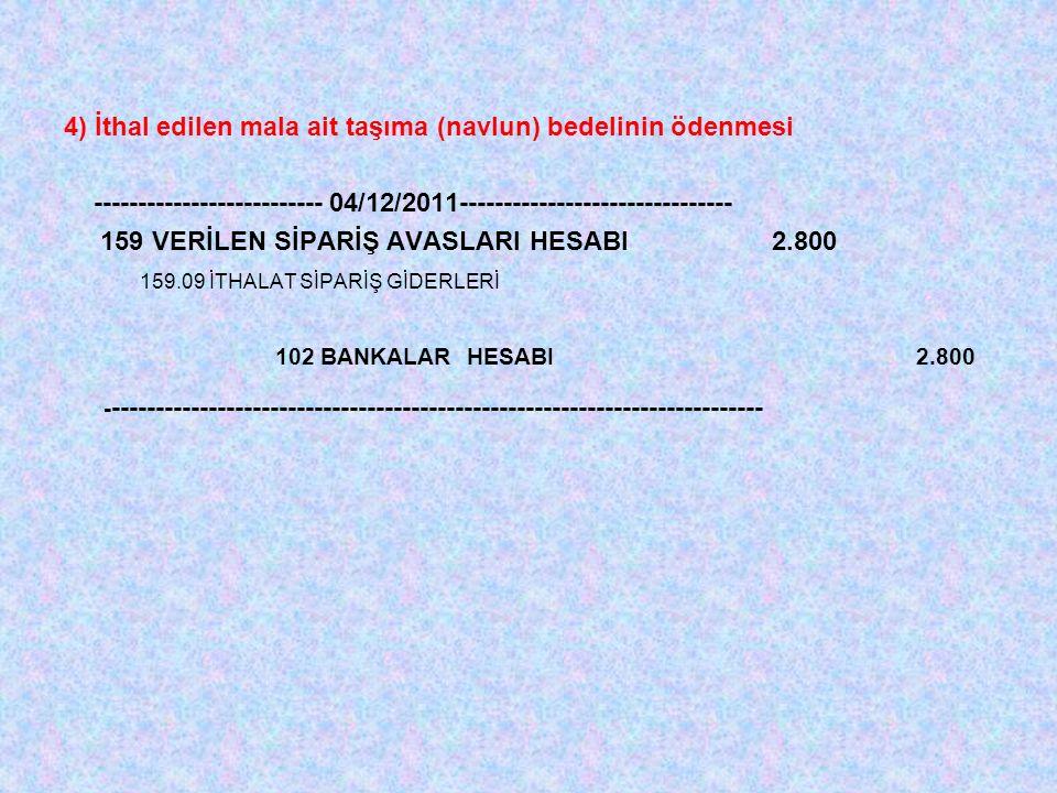 4) İthal edilen mala ait taşıma (navlun) bedelinin ödenmesi -------------------------- 04/12/2011------------------------------- 159 VERİLEN SİPARİŞ AVASLARI HESABI 2.800 159.09 İTHALAT SİPARİŞ GİDERLERİ 102 BANKALAR HESABI 2.800 - --------------------------------------------------------------------------