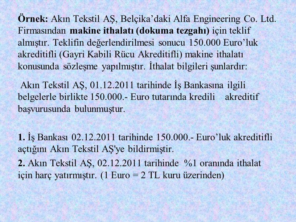 Örnek: Akın Tekstil AŞ, Belçika'daki Alfa Engineering Co.