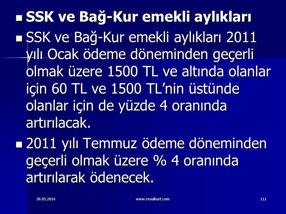 30.05.2016www.resulkurt.com111 SSK ve Bağ-Kur emekli aylıkları SSK ve Bağ-Kur emekli aylıkları SSK ve Bağ-Kur emekli aylıkları 2011 yılı Ocak ödeme döneminden geçerli olmak üzere 1500 TL ve altında olanlar için 60 TL ve 1500 TL'nin üstünde olanlar için de yüzde 4 oranında artırılacak.