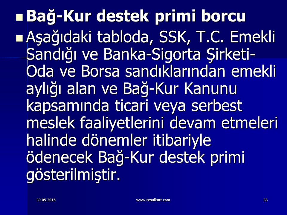 30.05.2016www.resulkurt.com38 Bağ-Kur destek primi borcu Bağ-Kur destek primi borcu Aşağıdaki tabloda, SSK, T.C.