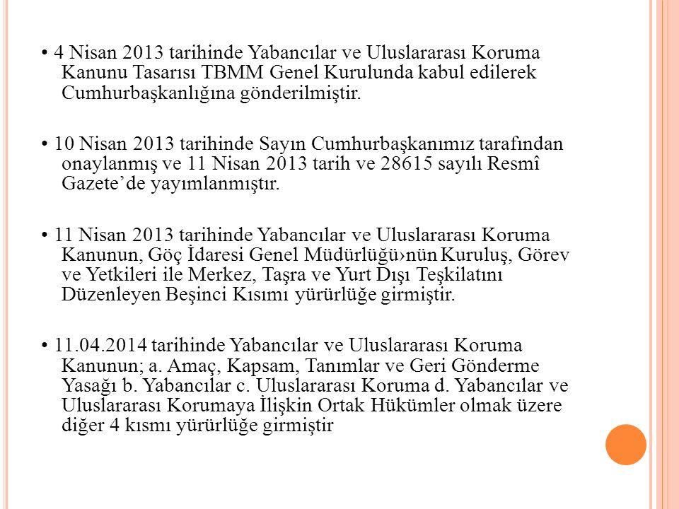 4 Nisan 2013 tarihinde Yabancılar ve Uluslararası Koruma Kanunu Tasarısı TBMM Genel Kurulunda kabul edilerek Cumhurbaşkanlığına gönderilmiştir.