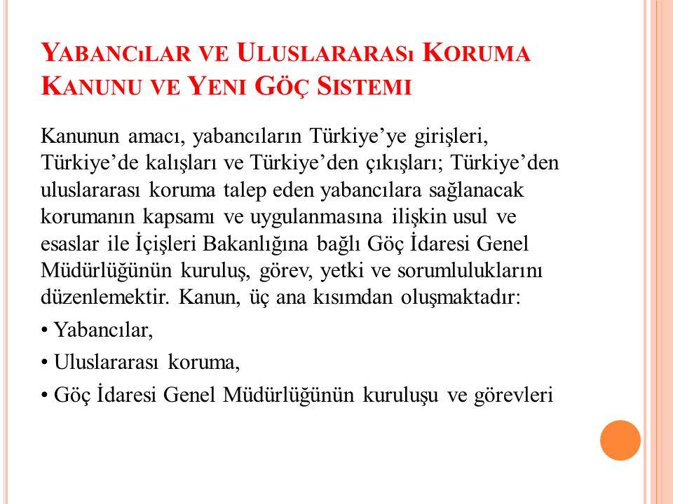 Y ABANCıLAR VE U LUSLARARASı K ORUMA K ANUNU VE Y ENI G ÖÇ S ISTEMI Kanunun amacı, yabancıların Türkiye'ye girişleri, Türkiye'de kalışları ve Türkiye'den çıkışları; Türkiye'den uluslararası koruma talep eden yabancılara sağlanacak korumanın kapsamı ve uygulanmasına ilişkin usul ve esaslar ile İçişleri Bakanlığına bağlı Göç İdaresi Genel Müdürlüğünün kuruluş, görev, yetki ve sorumluluklarını düzenlemektir.