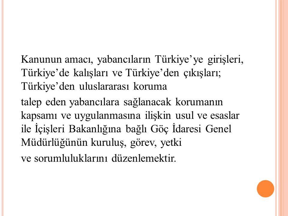 Kanunun amacı, yabancıların Türkiye'ye girişleri, Türkiye'de kalışları ve Türkiye'den çıkışları; Türkiye'den uluslararası koruma talep eden yabancılara sağlanacak korumanın kapsamı ve uygulanmasına ilişkin usul ve esaslar ile İçişleri Bakanlığına bağlı Göç İdaresi Genel Müdürlüğünün kuruluş, görev, yetki ve sorumluluklarını düzenlemektir.