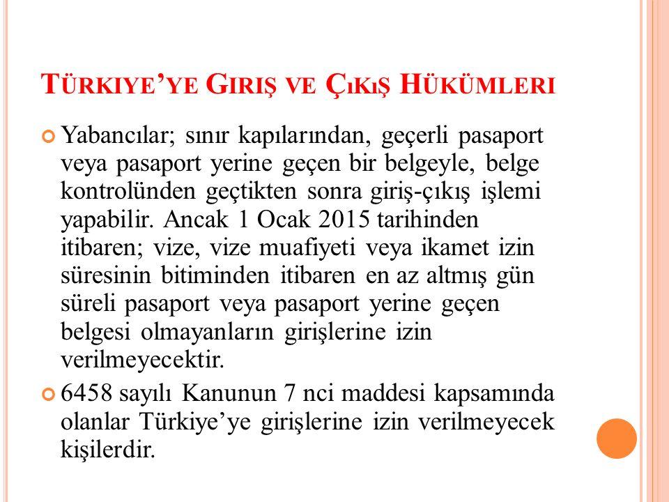 T ÜRKIYE ' YE G IRIŞ VE Ç ıKıŞ H ÜKÜMLERI Yabancılar; sınır kapılarından, geçerli pasaport veya pasaport yerine geçen bir belgeyle, belge kontrolünden geçtikten sonra giriş-çıkış işlemi yapabilir.