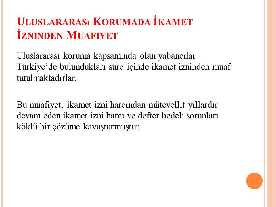 U LUSLARARASı K ORUMADA İ KAMET İ ZNINDEN M UAFIYET Uluslararası koruma kapsamında olan yabancılar Türkiye'de bulundukları süre içinde ikamet izninden muaf tutulmaktadırlar.