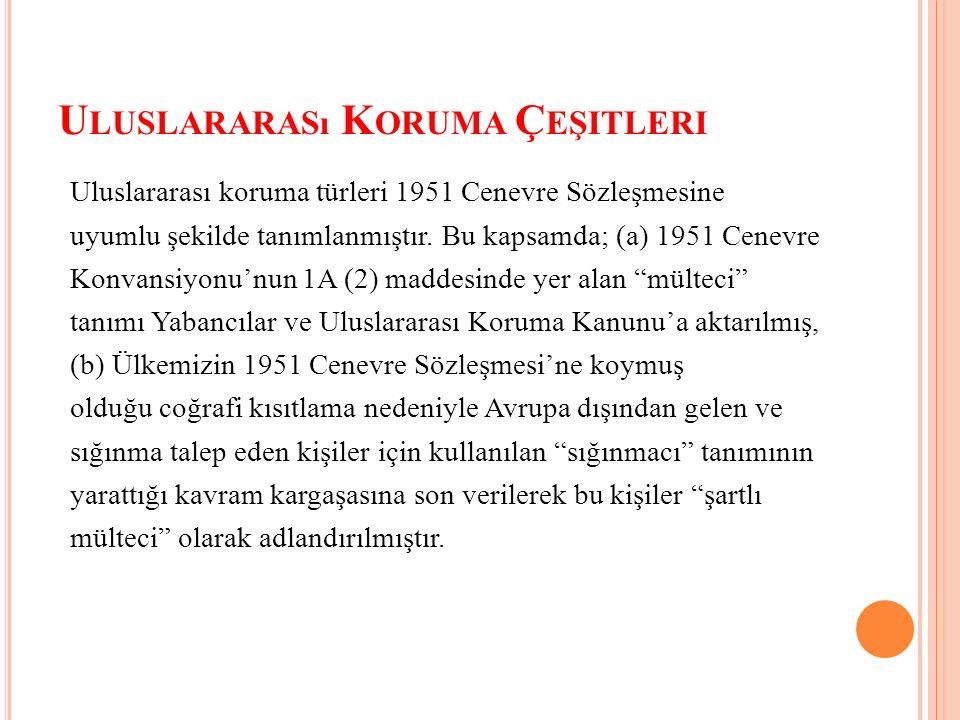U LUSLARARASı K ORUMA Ç EŞITLERI Uluslararası koruma türleri 1951 Cenevre Sözleşmesine uyumlu şekilde tanımlanmıştır.