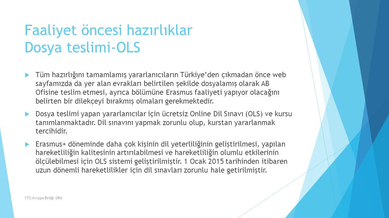 Faaliyet öncesi hazırlıklar Dosya teslimi-OLS  Tüm hazırlığını tamamlamış yararlanıcıların Türkiye'den çıkmadan önce web sayfamızda da yer alan evrak
