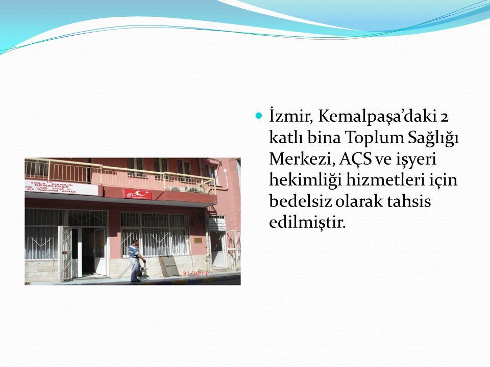 İzmir, Kemalpaşa'daki 2 katlı bina Toplum Sağlığı Merkezi, AÇS ve işyeri hekimliği hizmetleri için bedelsiz olarak tahsis edilmiştir.