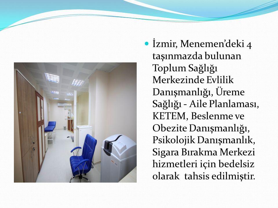 İzmir, Menemen'deki 4 taşınmazda bulunan Toplum Sağlığı Merkezinde Evlilik Danışmanlığı, Üreme Sağlığı - Aile Planlaması, KETEM, Beslenme ve Obezite Danışmanlığı, Psikolojik Danışmanlık, Sigara Bırakma Merkezi hizmetleri için bedelsiz olarak tahsis edilmiştir.