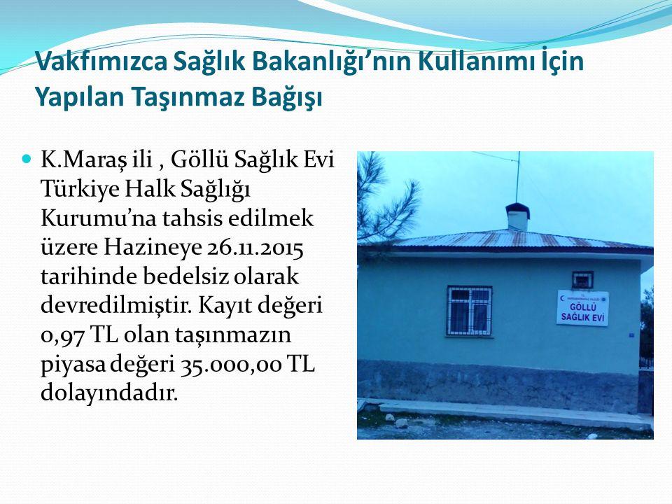 Vakfımızca Sağlık Bakanlığı'nın Kullanımı İçin Yapılan Taşınmaz Bağışı K.Maraş ili, Göllü Sağlık Evi Türkiye Halk Sağlığı Kurumu'na tahsis edilmek üzere Hazineye 26.11.2015 tarihinde bedelsiz olarak devredilmiştir.