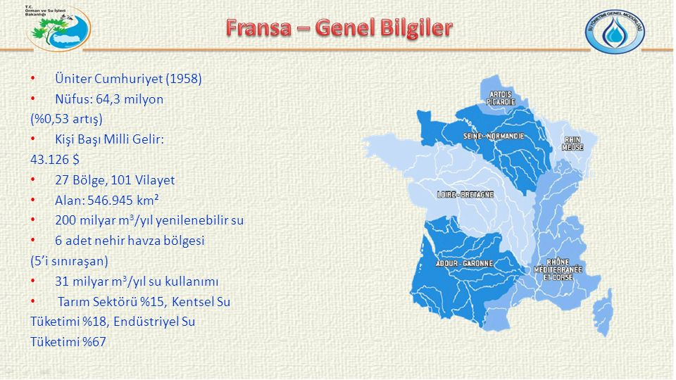 Üniter Cumhuriyet (1958) Nüfus: 64,3 milyon (%0,53 artış) Kişi Başı Milli Gelir: 43.126 $ 27 Bölge, 101 Vilayet Alan: 546.945 km² 200 milyar m 3 /yıl