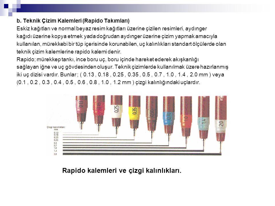 b. Teknik Çizim Kalemleri (Rapido Takımları) Eskiz kağıtları ve normal beyaz resim kağıtları üzerine çizilen resimleri, aydınger kağıdı üzerine kopya