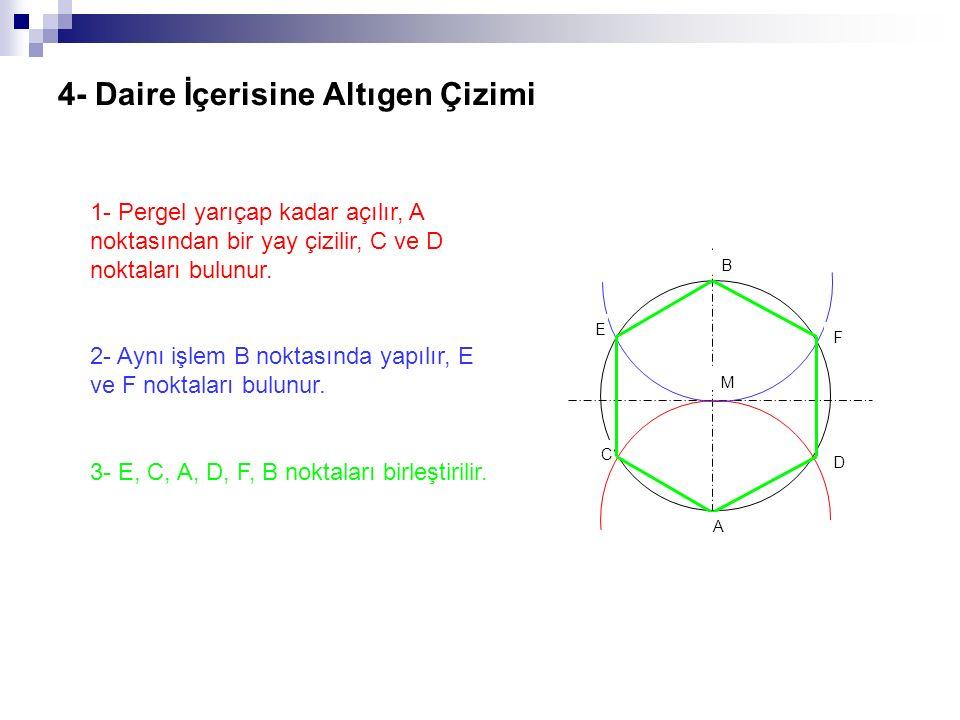 4- Daire İçerisine Altıgen Çizimi 1- Pergel yarıçap kadar açılır, A noktasından bir yay çizilir, C ve D noktaları bulunur. 2- Aynı işlem B noktasında