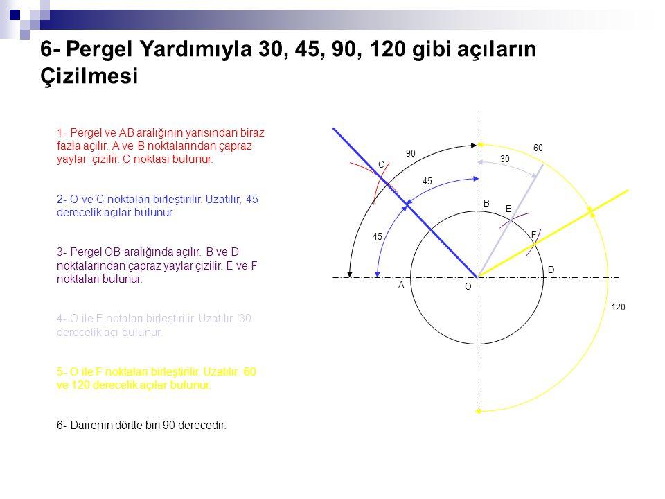 6- Pergel Yardımıyla 30, 45, 90, 120 gibi açıların Çizilmesi 1- Pergel ve AB aralığının yarısından biraz fazla açılır. A ve B noktalarından çapraz yay
