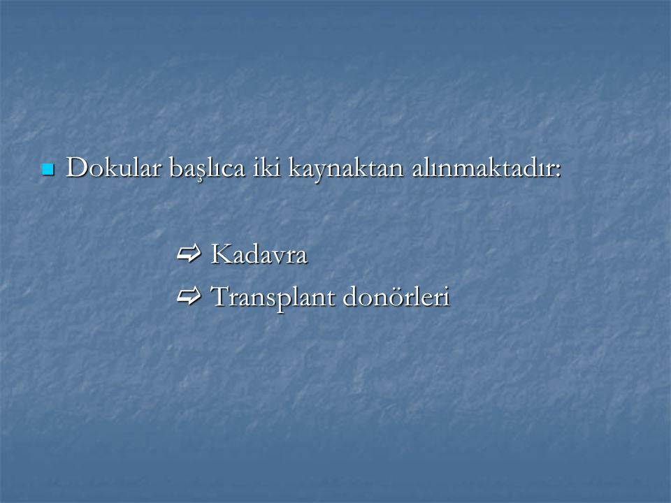 Dokular başlıca iki kaynaktan alınmaktadır: Dokular başlıca iki kaynaktan alınmaktadır:  Kadavra  Transplant donörleri