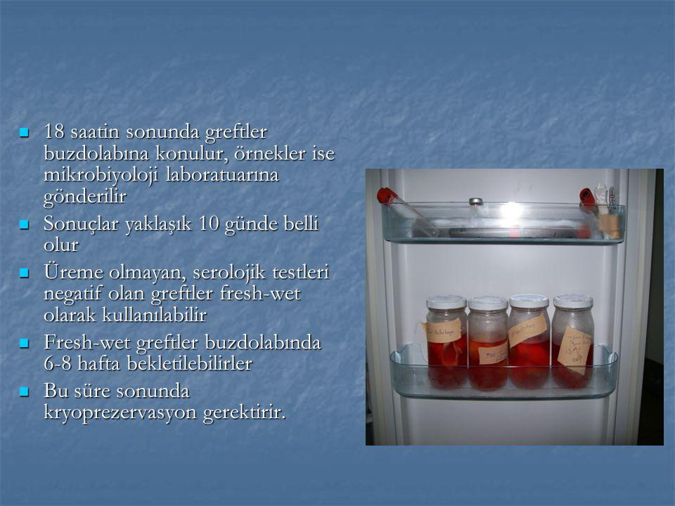 18 saatin sonunda greftler buzdolabına konulur, örnekler ise mikrobiyoloji laboratuarına gönderilir 18 saatin sonunda greftler buzdolabına konulur, örnekler ise mikrobiyoloji laboratuarına gönderilir Sonuçlar yaklaşık 10 günde belli olur Sonuçlar yaklaşık 10 günde belli olur Üreme olmayan, serolojik testleri negatif olan greftler fresh-wet olarak kullanılabilir Üreme olmayan, serolojik testleri negatif olan greftler fresh-wet olarak kullanılabilir Fresh-wet greftler buzdolabında 6-8 hafta bekletilebilirler Fresh-wet greftler buzdolabında 6-8 hafta bekletilebilirler Bu süre sonunda kryoprezervasyon gerektirir.