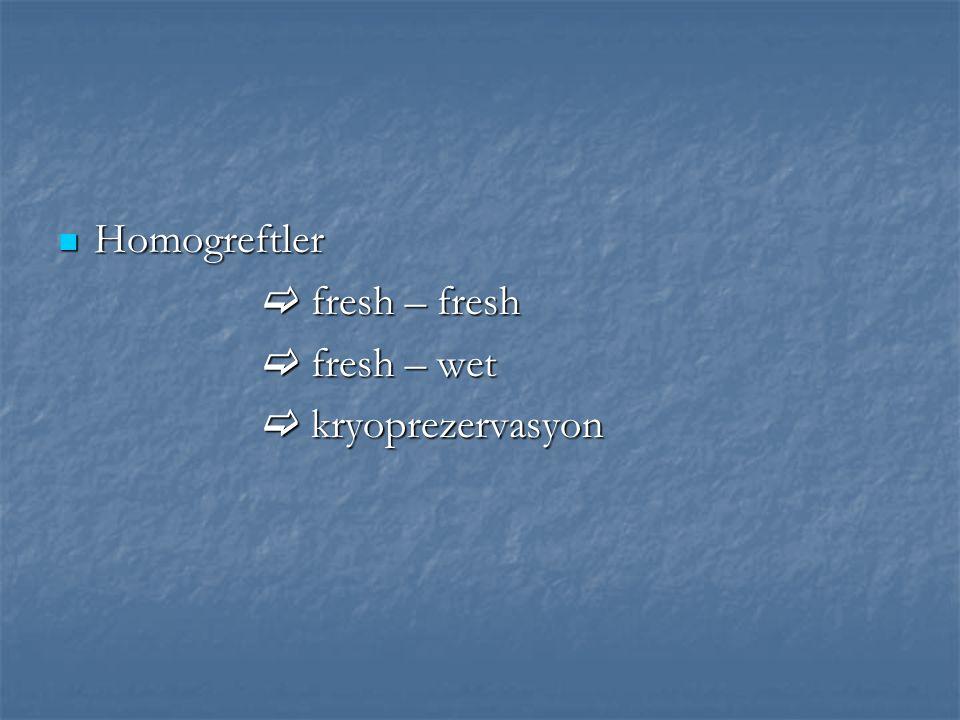 Homogreftler Homogreftler  fresh – fresh  fresh – fresh  fresh – wet  fresh – wet  kryoprezervasyon  kryoprezervasyon