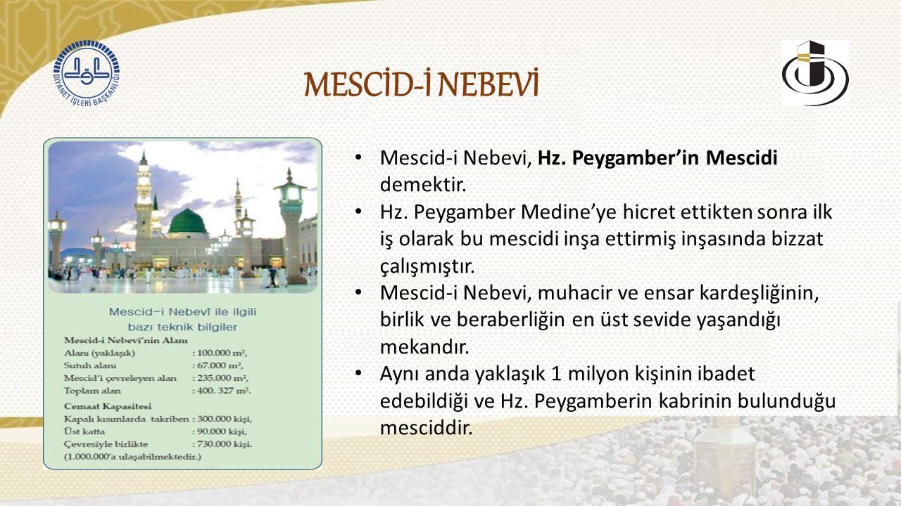 MESCİD-İ NEBEVİ Mescid-i Nebevi, Hz. Peygamber'in Mescidi demektir.