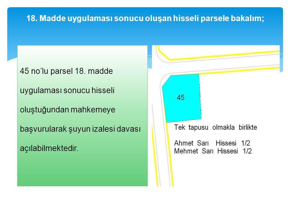 18. Madde uygulaması sonucu oluşan hisseli parsele bakalım; 45 no'lu parsel 18.