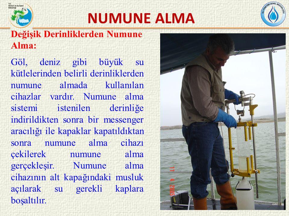 Değişik Derinliklerden Numune Alma: Göl, deniz gibi büyük su kütlelerinden belirli derinliklerden numune almada kullanılan cihazlar vardır.