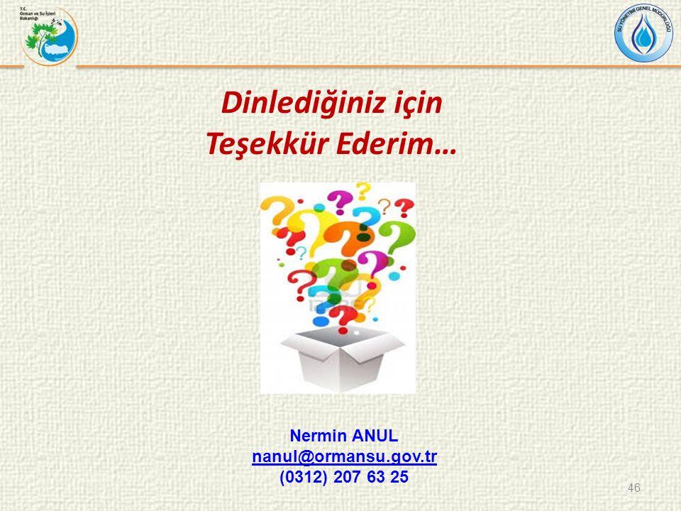 Dinlediğiniz için Teşekkür Ederim… 46 Nermin ANUL nanul@ormansu.gov.tr (0312) 207 63 25