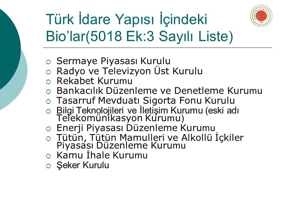 Türk İdare Yapısı İçindeki Bio'lar(5018 Ek:3 Sayılı Liste)  Sermaye Piyasası Kurulu  Radyo ve Televizyon Üst Kurulu  Rekabet Kuru mu  Bankacılık Düzenleme ve Denetleme Kuru mu  Tasarruf Mevduatı Sigorta Fonu Kurulu  Bilgi Teknolojileri ve İletişim Kurumu (eski adı Telekomünikasyon Kuru m u )  Enerji Piyasası Düzenleme Kuru mu  Tütün, Tütün Mamulleri ve Alkollü İçkiler Piyasası Düzenleme Kuru mu  Kamu İhale Kuru mu  Şeker Kurulu