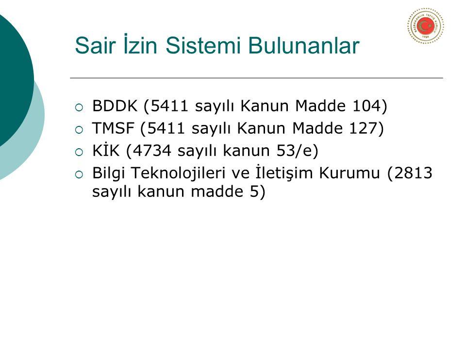 Sair İzin Sistemi Bulunanlar  BDDK (5411 sayılı Kanun Madde 104)  TMSF (5411 sayılı Kanun Madde 127)  KİK (4734 sayılı kanun 53/e)  Bilgi Teknolojileri ve İletişim Kurumu (2813 sayılı kanun madde 5)