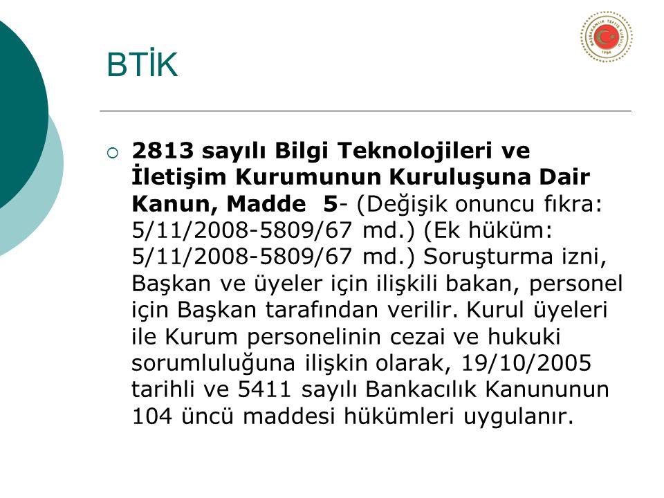 BTİK  2813 sayılı Bilgi Teknolojileri ve İletişim Kurumunun Kuruluşuna Dair Kanun, Madde 5- (Değişik onuncu fıkra: 5/11/2008-5809/67 md.) (Ek hüküm: