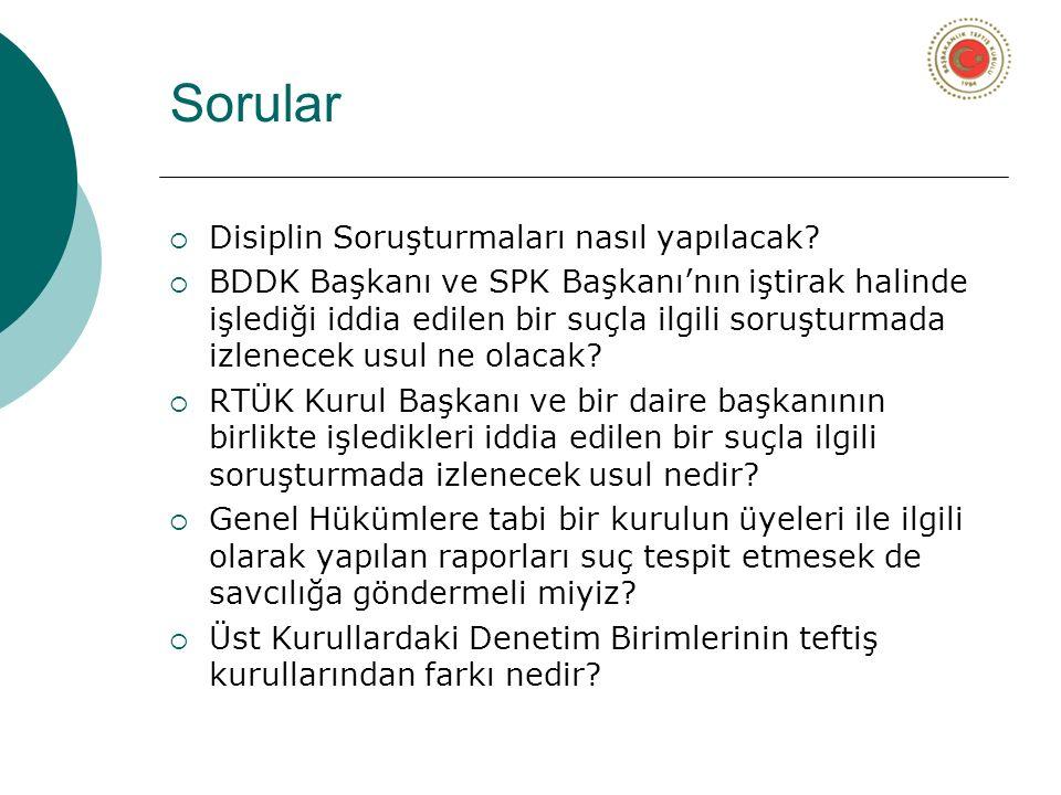 Sorular  Disiplin Soruşturmaları nasıl yapılacak?  BDDK Başkanı ve SPK Başkanı'nın iştirak halinde işlediği iddia edilen bir suçla ilgili soruşturma