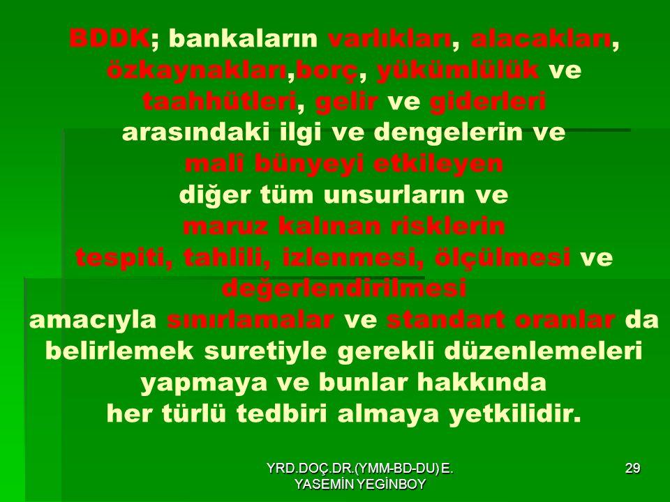 YRD.DOÇ.DR.(YMM-BD-DU) E. YASEMİN YEGİNBOY 29 BDDK; bankaların varlıkları, alacakları, özkaynakları,borç, yükümlülük ve taahhütleri, gelir ve giderler