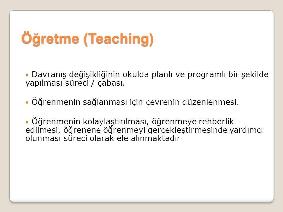 Öğretme (Teaching) Davranış değişikliğinin okulda planlı ve programlı bir şekilde yapılması süreci / çabası.