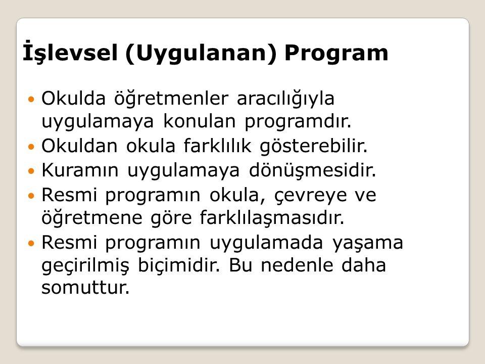 İşlevsel (Uygulanan) Program Okulda öğretmenler aracılığıyla uygulamaya konulan programdır.