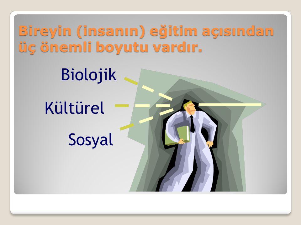 Bireyin (insanın) eğitim açısından üç önemli boyutu vardır. Biolojik Sosyal Kültürel