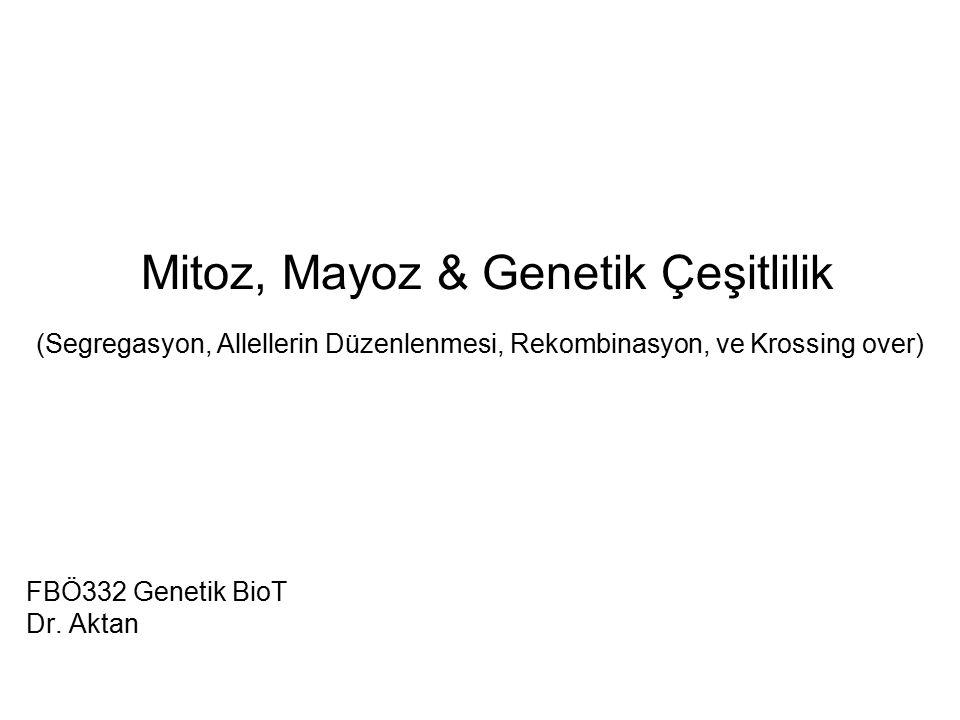 Mitoz, Mayoz & Genetik Çeşitlilik (Segregasyon, Allellerin Düzenlenmesi, Rekombinasyon, ve Krossing over) FBÖ332 Genetik BioT Dr. Aktan