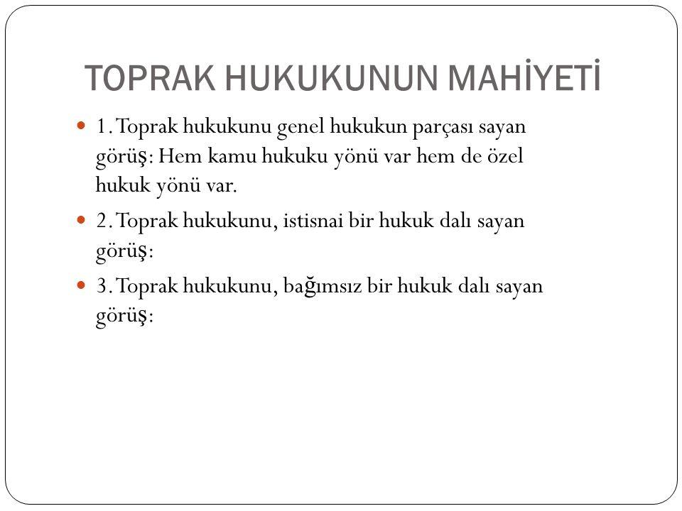 TOPRAK HUKUKUNUN MAHİYETİ 1.
