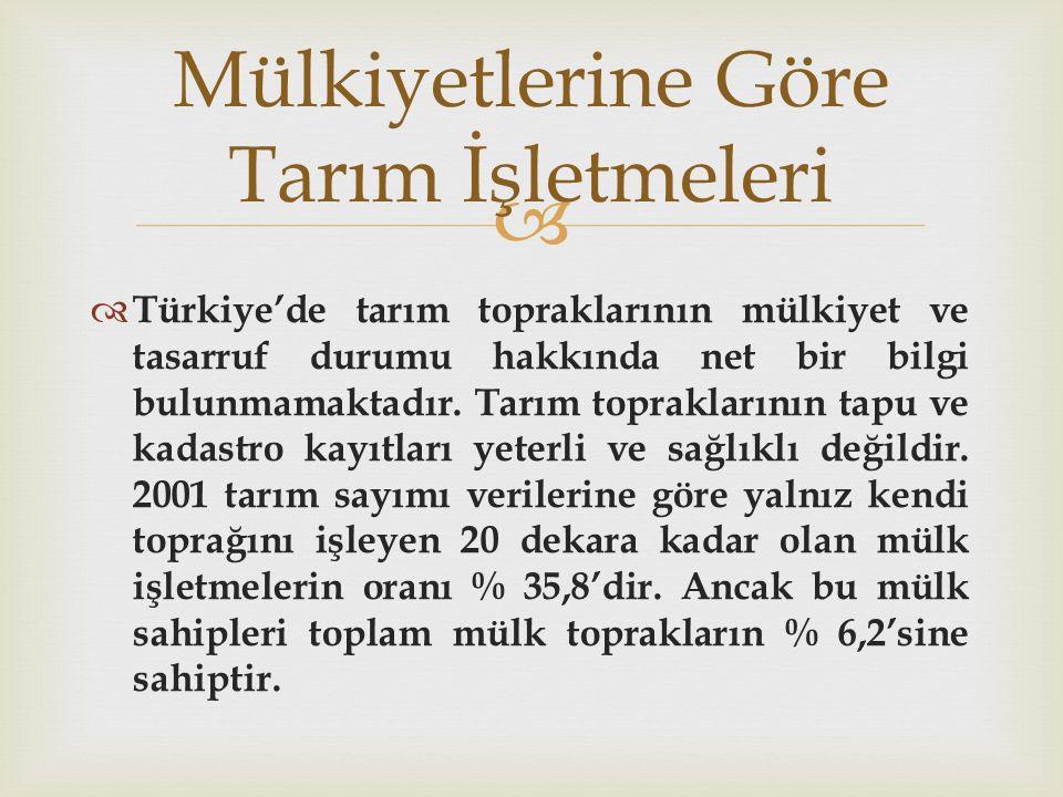   Türkiye'de tarım topraklarının mülkiyet ve tasarruf durumu hakkında net bir bilgi bulunmamaktadır. Tarım topraklarının tapu ve kadastro kayıtları