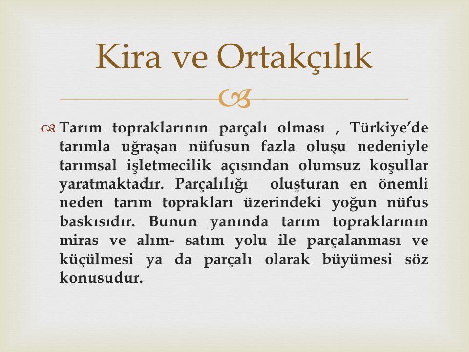   Tarım topraklarının parçalı olması, Türkiye'de tarımla uğraşan nüfusun fazla oluşu nedeniyle tarımsal işletmecilik açısından olumsuz koşullar yara