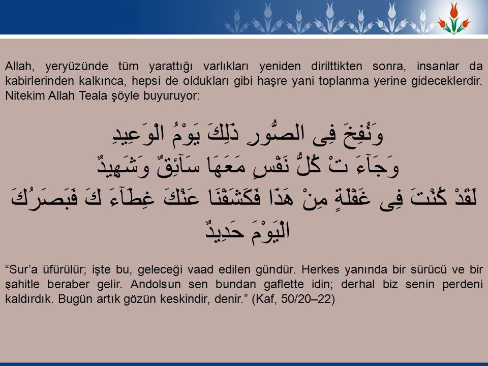 اِنَّ فِى ذَلِكَ لاَيَةً لِمَنْ خَافَ عَذَابَ اْلاَخِرَةِ ذَلِكَ يَوْمٌ مَجْمُوعٌ لَهُ النَّاسُ وَذَلِكَ يَوْمٌ مَشْهُودٌ Yüce Allah buyuruyor: O gün bütün insanların bir araya toplandığı bir gündür ve o gün bütün yaratılmışların hazır bulunduğu bir gündür. (Hud, 11/103) Her şeyden münezzeh olan Allah buyuruyor: لَيَجْمَعَنَّكُمْ اِلَى يَوْمِ الْقِيَمَةِ لاَ رَيْبَ فِيهِ Sizi, varlığında şüphe olmayan kıyamet gününde elbette toplayacaktır. (Enam, 6/12) Nasıl insanlar mahşerde toplanıp hesap vereceklerse aynen diğer canlılar da toplanıp hesap vereceklerdir.