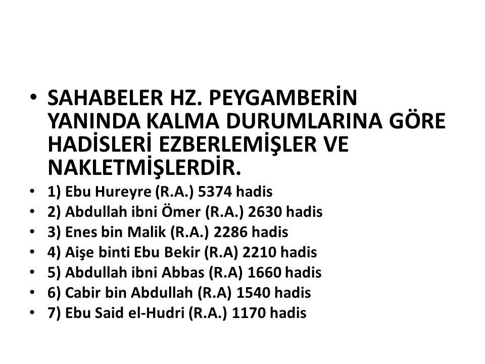 SAHABELER HZ. PEYGAMBERİN YANINDA KALMA DURUMLARINA GÖRE HADİSLERİ EZBERLEMİŞLER VE NAKLETMİŞLERDİR. 1) Ebu Hureyre (R.A.) 5374 hadis 2) Abdullah ibni