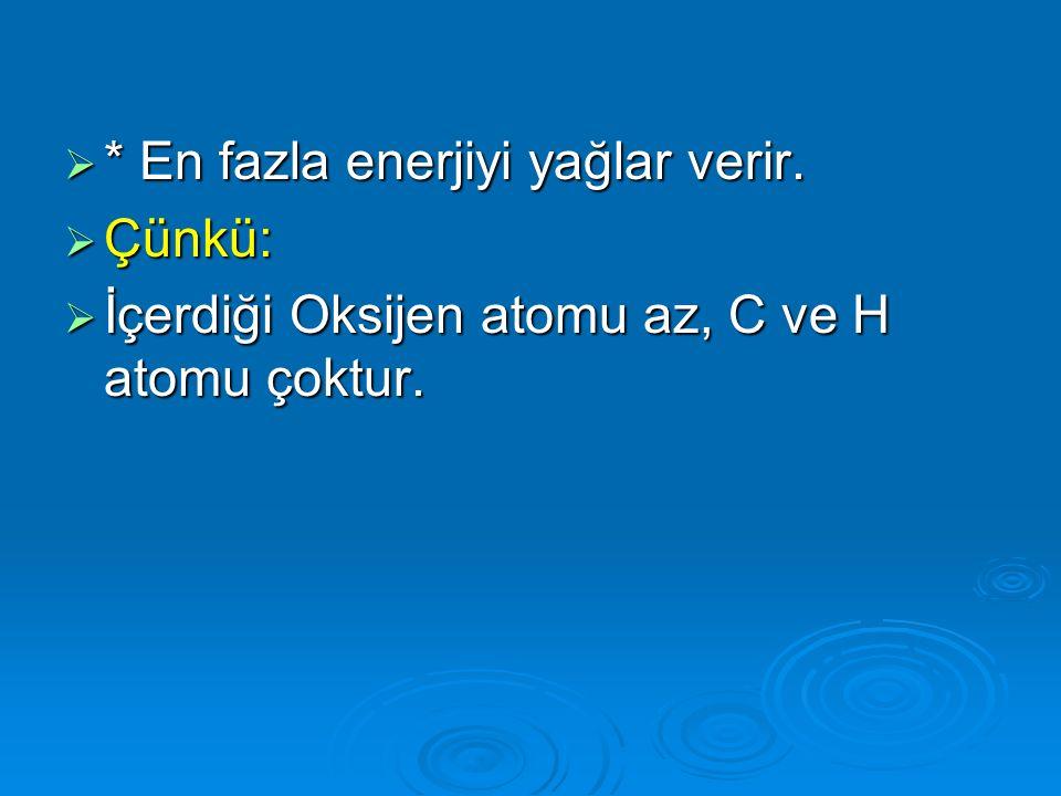  * En fazla enerjiyi yağlar verir.  Çünkü:  İçerdiği Oksijen atomu az, C ve H atomu çoktur.