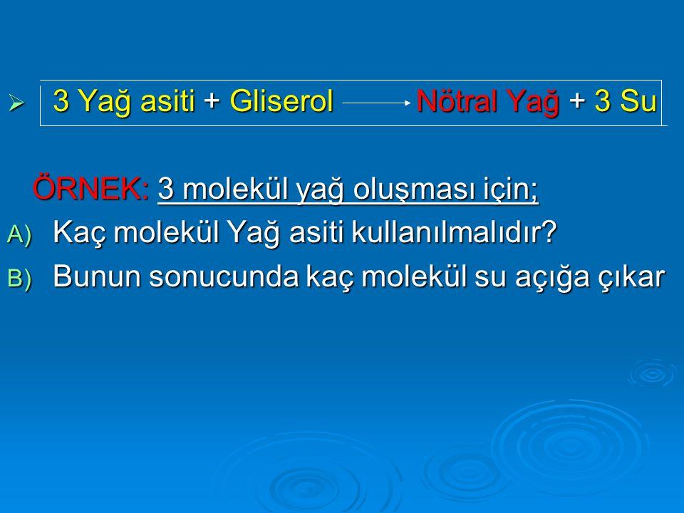  3 Yağ asiti + Gliserol Nötral Yağ + 3 Su ÖRNEK: 3 molekül yağ oluşması için; ÖRNEK: 3 molekül yağ oluşması için; A) Kaç molekül Yağ asiti kullanılma