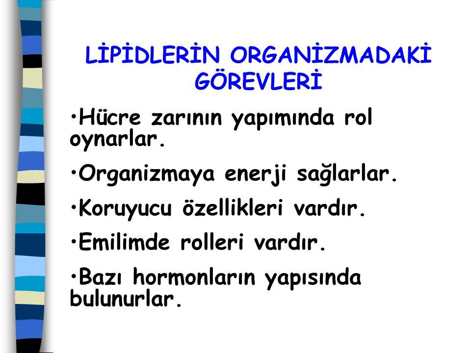 Lipidler yapılarına göre Yağ asidleri ve triaçilgliseroller (trigliseridler, nötral yağlar) Mumlar Fosfatidler ( f osfolipidler) Glikolipidler İzopren türevi lipidler olmak üzere 5 gruba ayrılırlar.